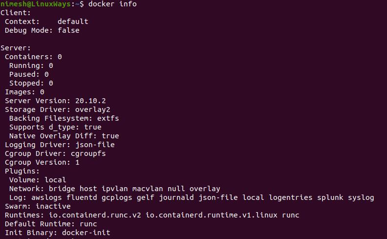 Docker info