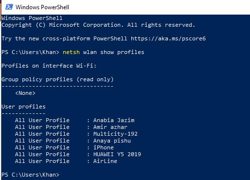 Get WiFi password via PowerShell