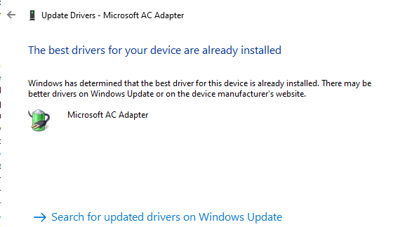 Install updated Driver, if available