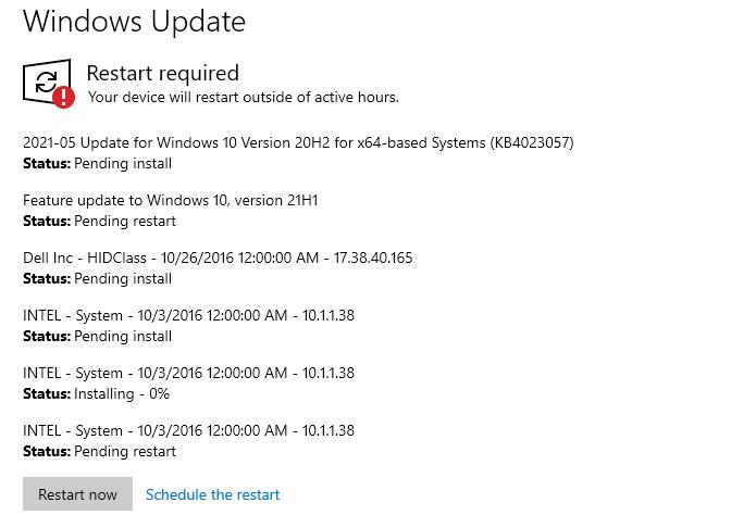 Restart after updates