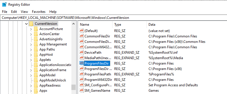 Computer\HKEY_LOCAL_MACHINE\SOFTWARE\Microsoft\Windows\CurrentVersion