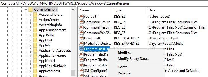 Modify ProgramFilesDir