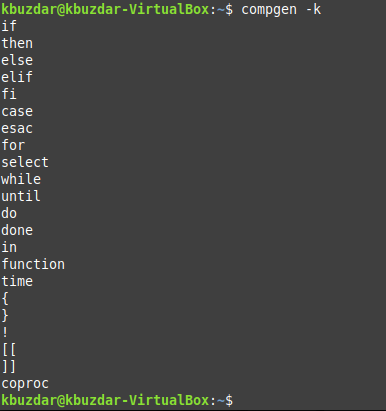 Keywords built into the current shell