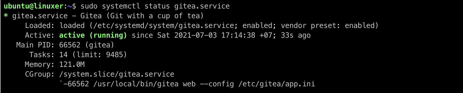 set up Gitea systemd service