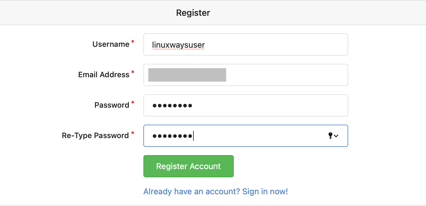 Register a new user