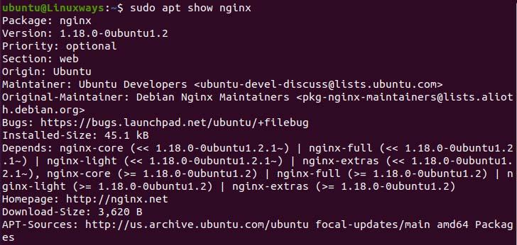 Show package details using apt